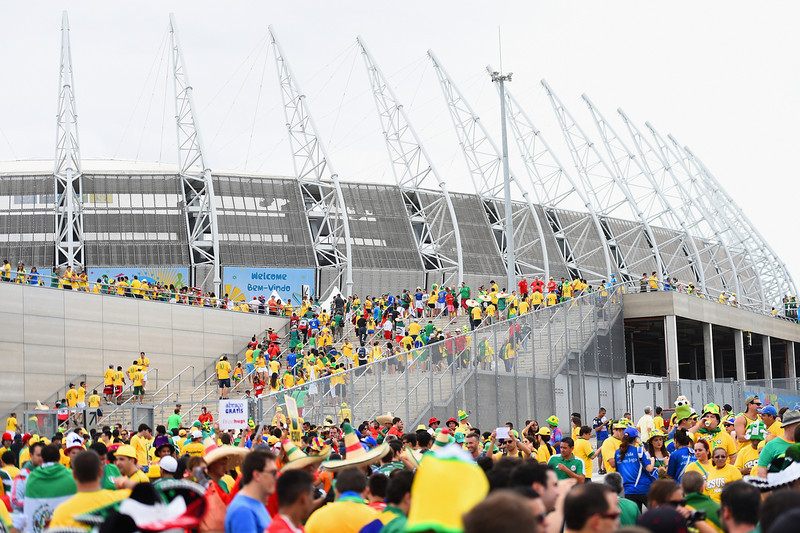 . Fans arrive at the stadium before the 2014 FIFA World Cup Brazil Group A match between Brazil and Mexico at Castelao on June 17, 2014 in Fortaleza, Brazil.  (Photo by Laurence Griffiths/Getty Images)