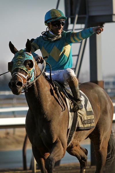 Do Share (Candy Ride) and jockey Reylu Gutierrez win the Tom Fool (Gr III) at Aqueduct Racetrack 3/9/19. Trainer: Mike Maker. Owner: Three Diamonds Farm