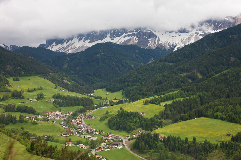 Val di Funes sits at the base of the Puez Odle mountains.  The beauty is beyond description!