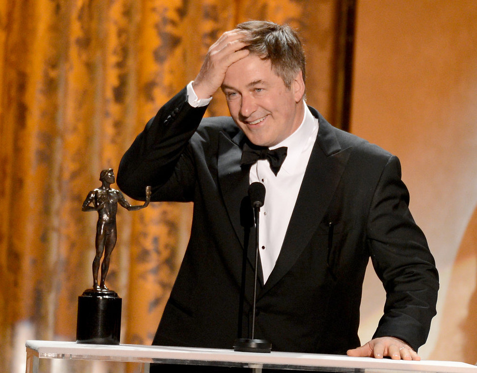. Actor Alec Baldwin accepts onstage the award for Outstanding Performance by a Male Actor in a Comedy Series for \'30 Rock\' during the 19th Annual Screen Actors Guild Awards held at The Shrine Auditorium on January 27, 2013 in Los Angeles, California.  (Photo by Mark Davis/Getty Images)