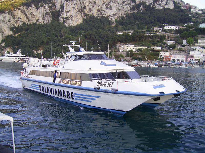 GIOVE JET arriving in Capri.