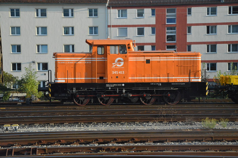 Erfurter Gleisbau GmbH 345413-9 sits at Nuremberg 18/9/17