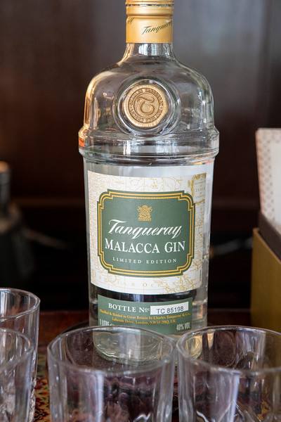 A bottle of Tanqueray Malacca Gin at the Majestic Hotel Bar in Malacca, Malaysia. This is the rarest gin in the world and only 200 bottles are prodeced each year and can only be tasted at the historic Majestic Hotel Bar. The botanicals in the Malacca gin can only be acquired in Malaysia and were hand picked by Charles Tanqueray when he used to visit the town in the late 1800s.