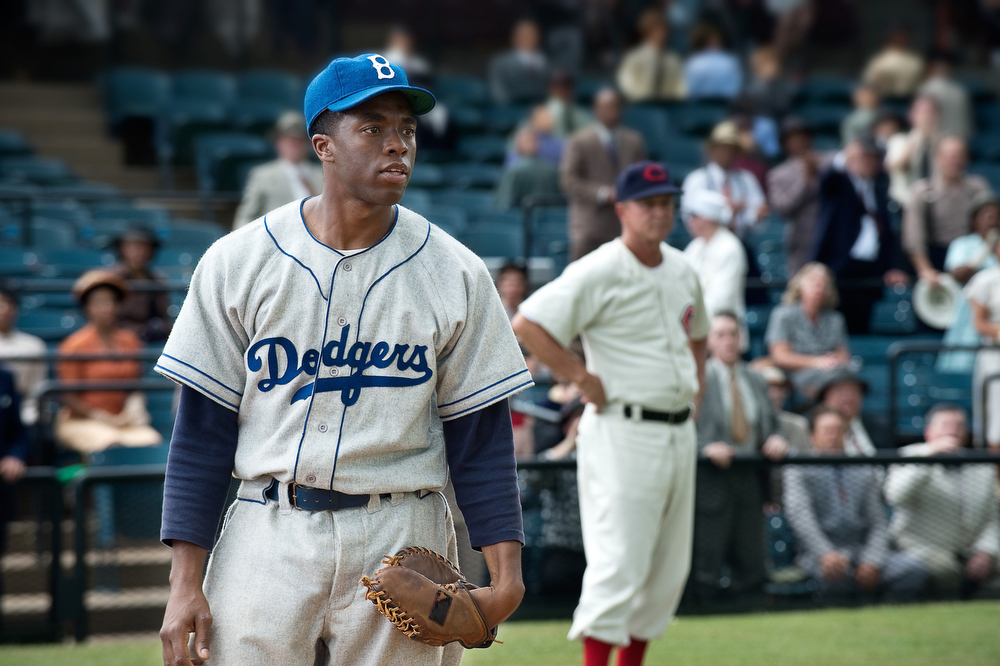 ". CHADWICK BOSEMAN as Jackie Robinson in Warner Bros. Pictures and Legendary Pictures� drama �""42\"" a Warner Bros. Pictures release."