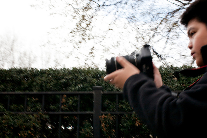 Kid with a camera in Chicago, Illinois on April 16, 2011.  (Jay Grabiec)