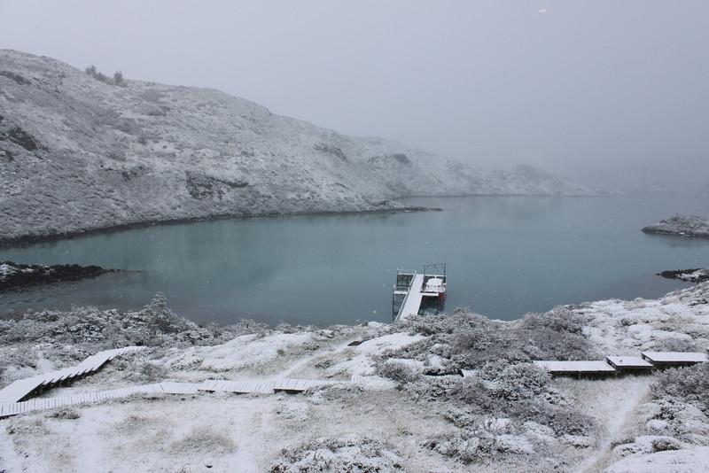 snowing at Explora Lodge