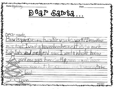 Mrs. Segleski's third grade Letters to Santa, 12/5/2018