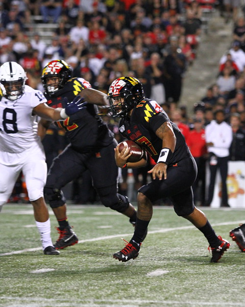 Maryland QB #17 Josh Jackson rushes with the ball
