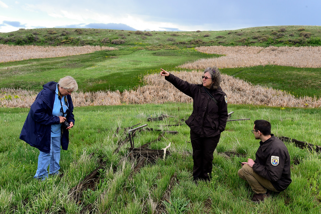 . U.S. Fish and Wildlife Supervisory Ranger Cindy Souders, center, points out different features of the Lindsay Ranch at the Rocky Flats National Wildlife Refuge in Jefferson County, Colorado on May 14, 2018. (Photo by Matthew Jonas/Staff Photographer)