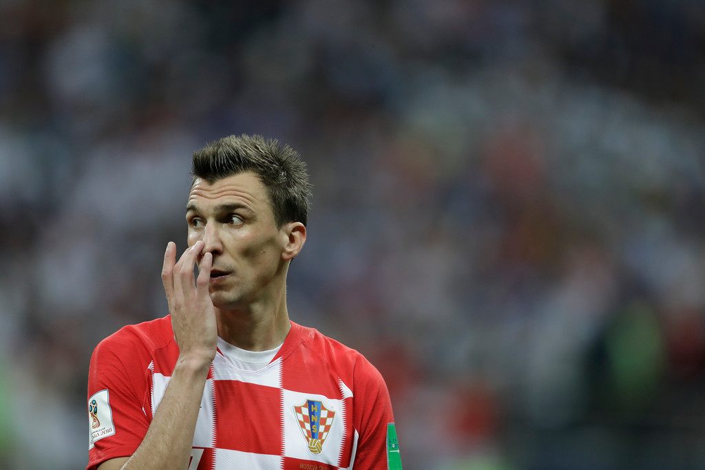 . Croatia\'s Mario Mandzukic gestures after the final match between France and Croatia at the 2018 soccer World Cup in the Luzhniki Stadium in Moscow, Russia, Sunday, July 15, 2018. (AP Photo/Natacha Pisarenko)