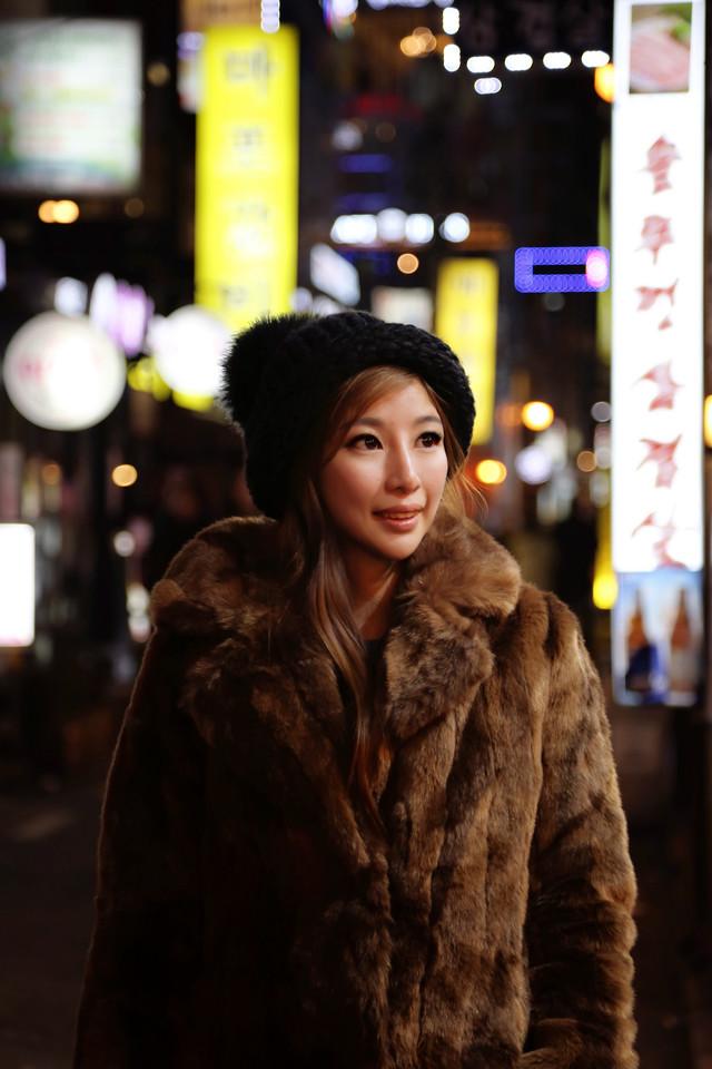 girl teddy bear coat winter night