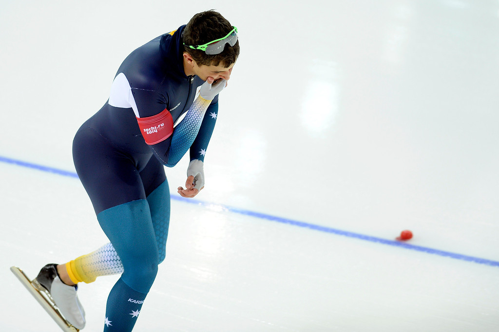 . Austrailia\'s Daniel Greig, who was expected to contend for a medal, reacts to falling right off of the line during the speed skating men\'s 500-meter at Adler Arena. Sochi 2014 Winter Olympics on Monday, February 10, 2014. (Photo by AAron Ontiveroz/The Denver Post)