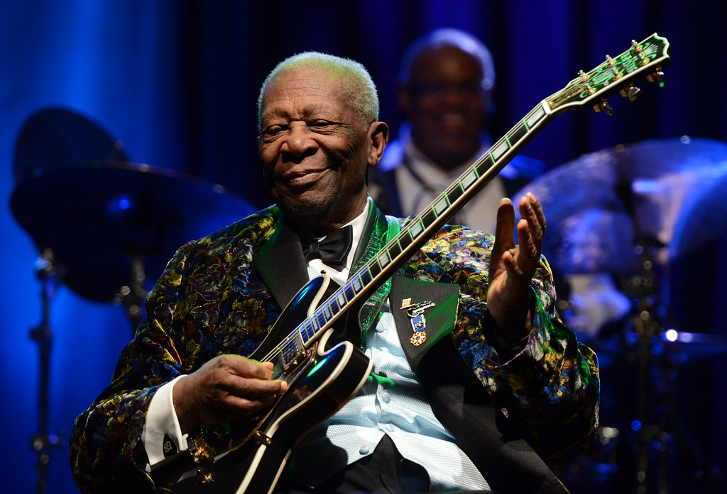 . B.B. King performs at San Manuel Indian Bingo & Casino in Highland, CA., Thursday, December 5, 2013.  King died Thursday, May 14, 2015, peacefully in his sleep at his Las Vegas home at age 89, his lawyer said.   (Photo by Jennifer Cappuccio Maher/Inland Valley Daily Bulletin)