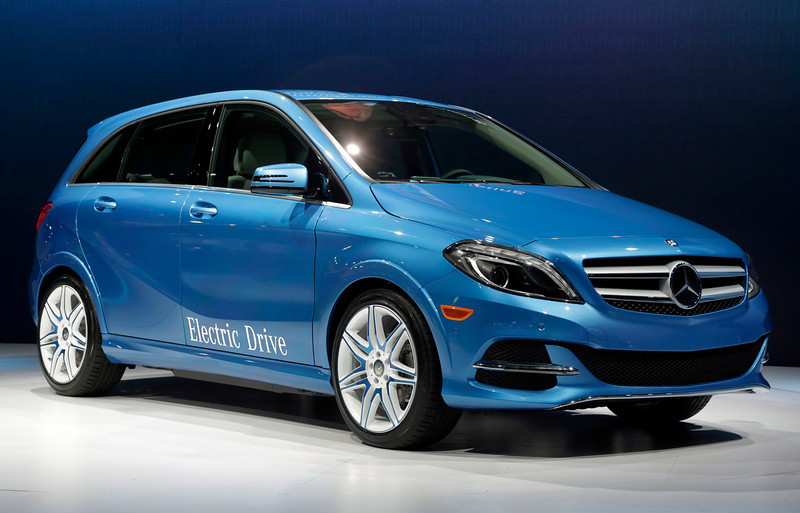 . The 2014 B-Class Electric Drive Mercedes Benz is presented at the New York International Auto Show, in New York\'s Javits Center,  Wednesday, March 27, 2013. (AP Photo/Richard Drew)
