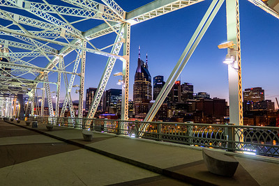 Nashville's Batman Building through the John Seigenthaler Pedestrian Bridge