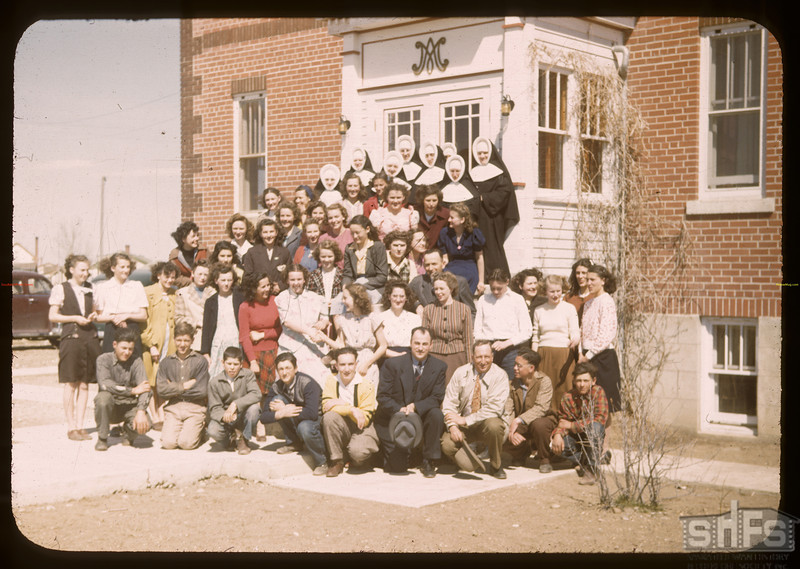 Sisters and students of Val Marie convent.  Val Marie.  04/28/1948