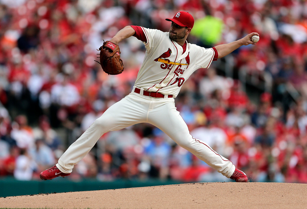 . St. Louis Cardinals starting pitcher Tyler Lyons throws during the first inning of a baseball game against the Detroit Tigers Saturday, May 16, 2015, in St. Louis. (AP Photo/Jeff Roberson)