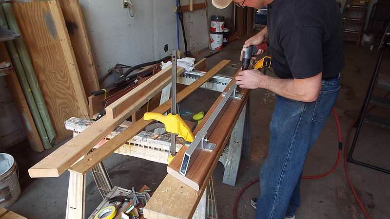 Another view of the trailer cross frame being made.