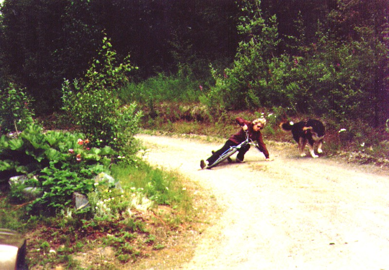 Bonnie's bicycle Crash in Dave's Driveway, Tundra is no help, July 1988 .jpg