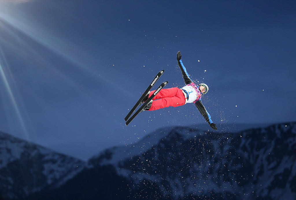 . Liu Zhongqing of China in action during the Men\'s Freestyle Skiing Aerials Qualification at the Rosa Khutor Extreme Park during the Sochi 2014 Olympic Games, Krasnaya Polyana, Russia, 17 February 2014.  EPA/SERGEY ILNITSKY