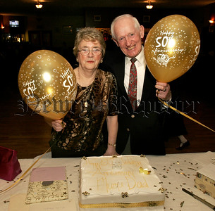 Pictured at a surprise Golden  Wedding Anniversary Function on Easter Monday in Garrickcruppin GAC, Mr & Mrs Francis and Eileen Monaghan,(nee Mc Cartan) who were married on Easter Monday 11th April 1955 in St Peter and St Paul,s Church Bessbrook. 05W13N17