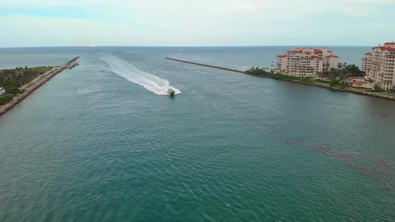 Aerial luxury yacht Miami Beach