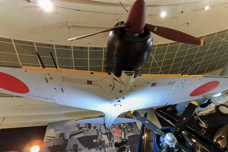 Real Japanese Zero suspended in the San Diego Air and Space Museum.