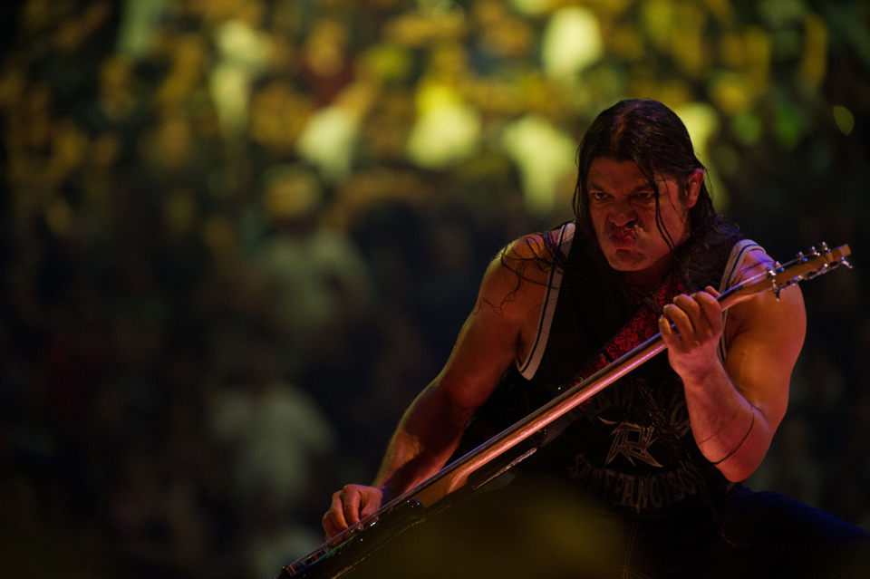 """Description of . Robert Trujillo plays bass on stage in """"Metallica: Through the Never"""""""