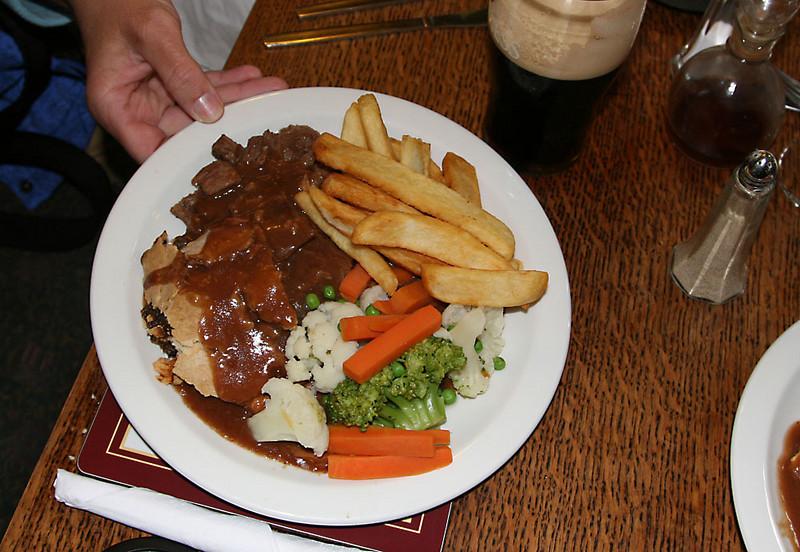 Stilton and steak pie.  Really good!