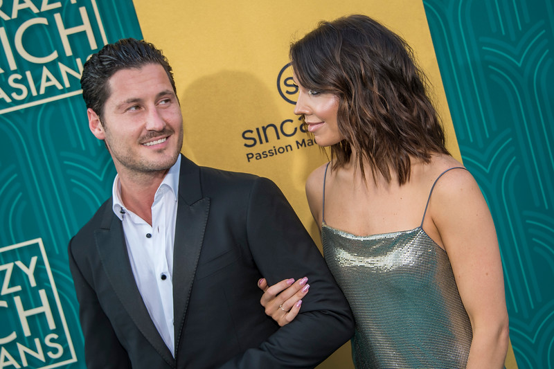 HOLLYWOOD, CA - AUGUST 07: Valentin Chmerkovskiy and Jenna Johnson arrive at Warner Bros. Pictures' 'Crazy Rich Asians' Premiere at TCL Chinese Theatre IMAX on Tuesday, August 7, 2018 in Hollywood, California. (Photo by Tom Sorensen/Moovieboy Pictures)