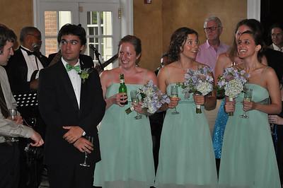 Wedding reception, cake cutting, and dancing