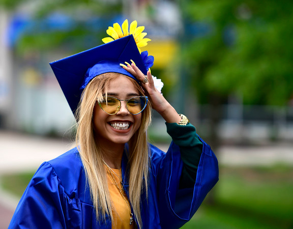 5/30/2019 Mike Orazzi | Staff Tunxis student Ismeraliz Ortiz at CCSU for Thursday night's graduation ceremony in New Britain.