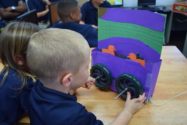 Kindergarten Visits 7th Grade Robotics