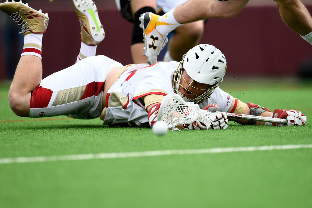 . DENVER, CO - MAY 15:  Chris Hampton (20) of the Denver watches the ball squirt loose as he hits the turf against Towson during the first half. University of Denver hosted Towson University in an NCAA tournament game on Sunday, May 15, 2016. (Photo by AAron Ontiveroz/The Denver Post)
