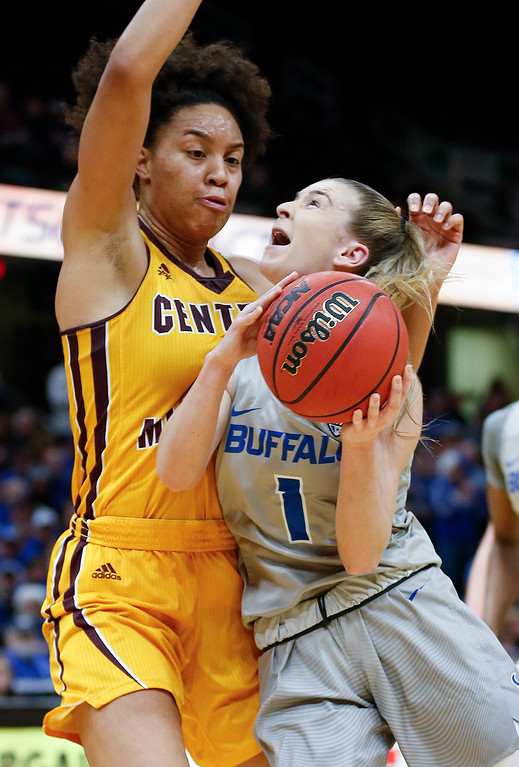 . Buffalo guard Stephanie Reid shoots against Central Michigan forward Tinara Moore during the first half of an NCAA college basketball game in the championship of the Mid-American Conference tournament Saturday, March 10, 2018, in Cleveland. Central Michigan won 96-91. (AP Photo/Ron Schwane)