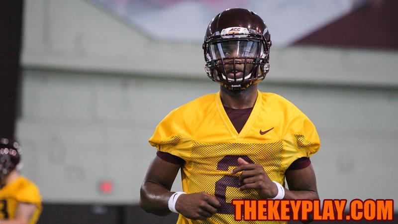 Freshman QB Dwayne Lawson runs off the field during his first college football practice. (Mark Umansky/TheKeyPlay.com)