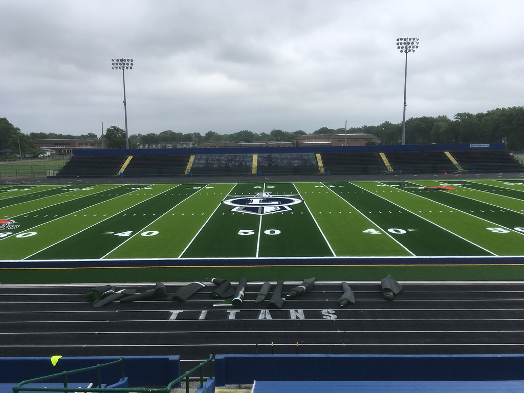. A home-bleachers view of the new turf at George Daniel Field at Lorain High School. (Zach Srnis - The Morning Journal)