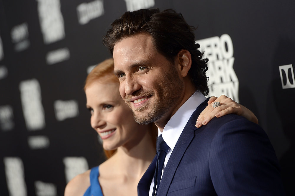 Description of . ctress Jessica Chastain and actor Edgar Ramirez arrive at the Los Angeles premiere of Columbia Pictures'