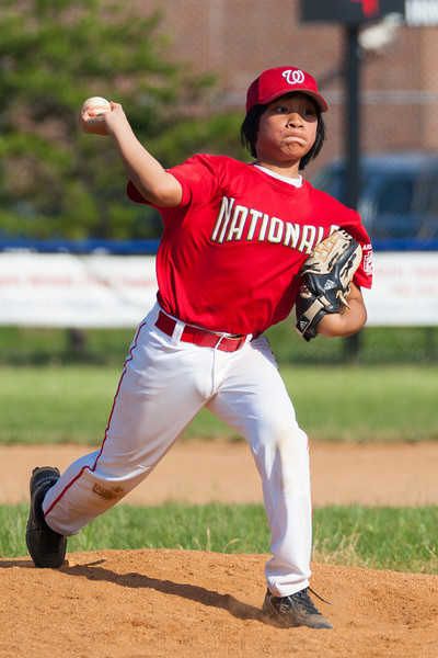 Alex pitching in the top of the 6th inning. The Nationals struggled on both offense and defense in a 2-11 loss to the Orioles. They are now 7-4 for the season. 2012 Arlington Little League Baseball, Majors Division. Nationals vs Orioles (19 May 2012) (Image taken by Patrick R. Kane on 19 May 2012 with Canon EOS-1D Mark III at ISO 400, f4.0, 1/2500 sec and 200mm)