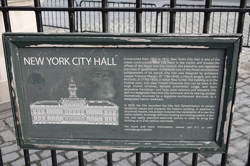 New York City Hall - information board.
