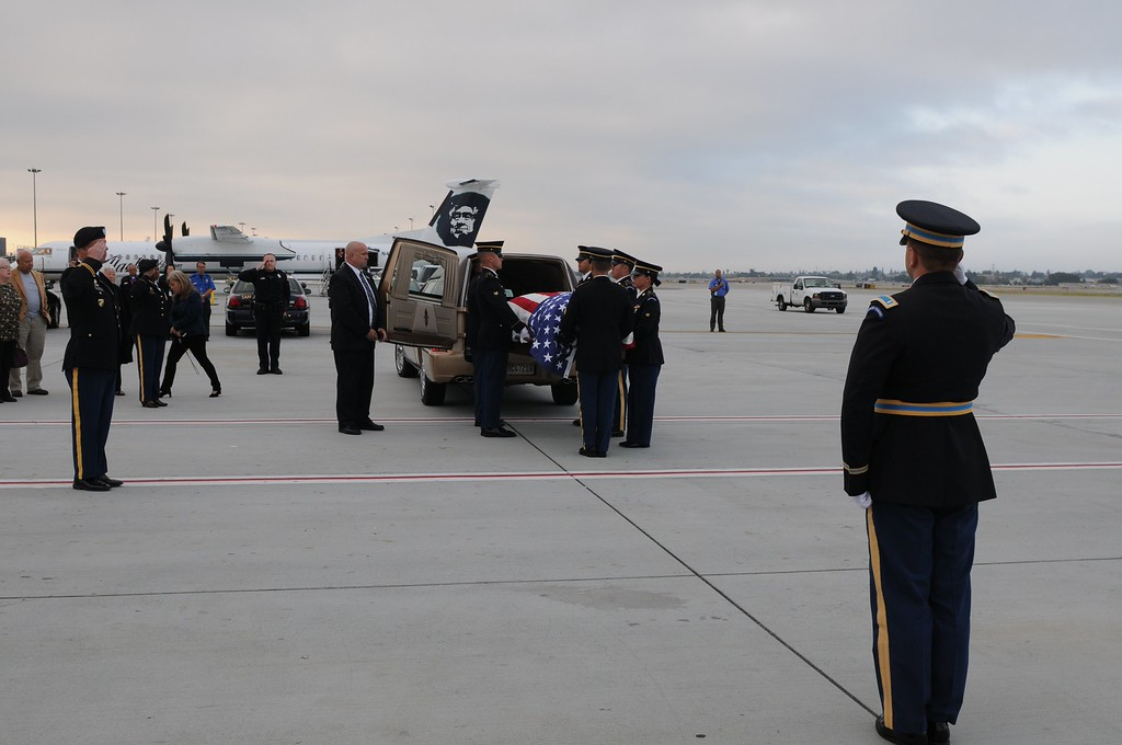 . The remains of Sgt. 1st. Class Joseph Steinberg, a member of Battery C, 15th Field Artillery Battalion, 2nd Infantry Division, arrived at the San Jose Mineta Airport on July 30, 2013. Steinberg was a Prisoner of War during the Korean War, where he passed away in 1951. His remains were returned to the U.S. Government by the Republic of Korea and identified through modern DNA technology. Steinberg\' family will finally be able to put him to rest alongside his three brothers, all of them WWII veterans, at the Golden Gate National Cemetery in San Bruno, Calif. His funeral took place on Aug. 1, 2013. (Courtesy o Spc. Charles So, Public Affairs Specialist, 63d Regional Support Command, U.S. Army Reserve )