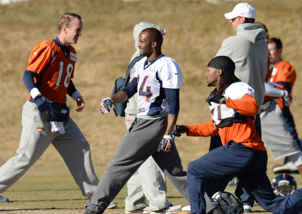 . Denver Broncos Champ Bailey (24) is warming up for the team practice at Dove Valley. Centennial Colorado. January 17. 2014. (Photo by Hyoung Chang/The Denver Post)
