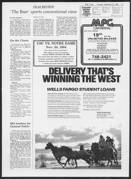 Daily Trojan, Vol. 97, No. 18, September 27, 1984