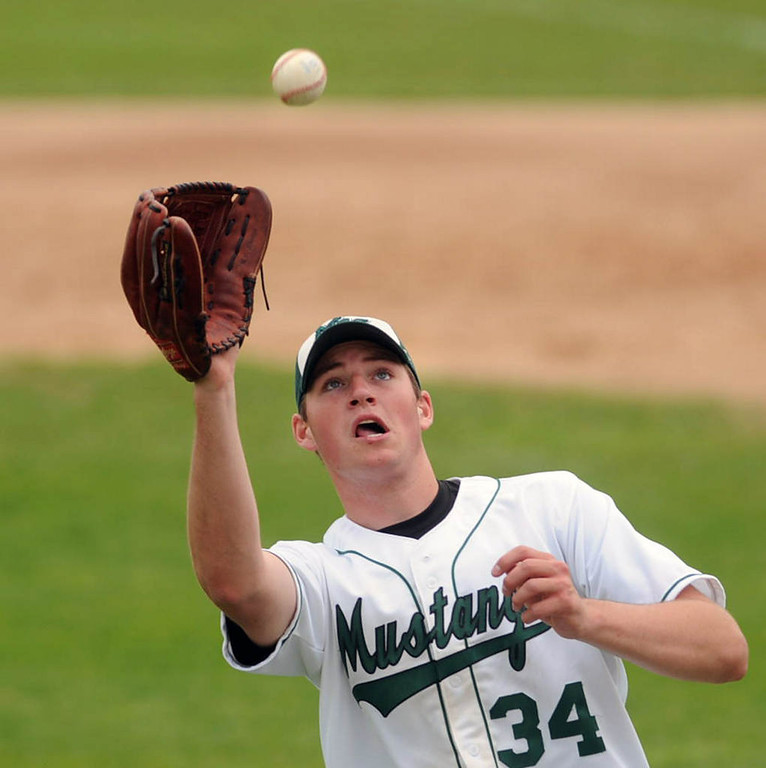 . Mounds View pitcher Sam Hentges fields an infield ground ball before throwing to first base for the last out in the third inning. (Pioneer Press: Chris Polydoroff)