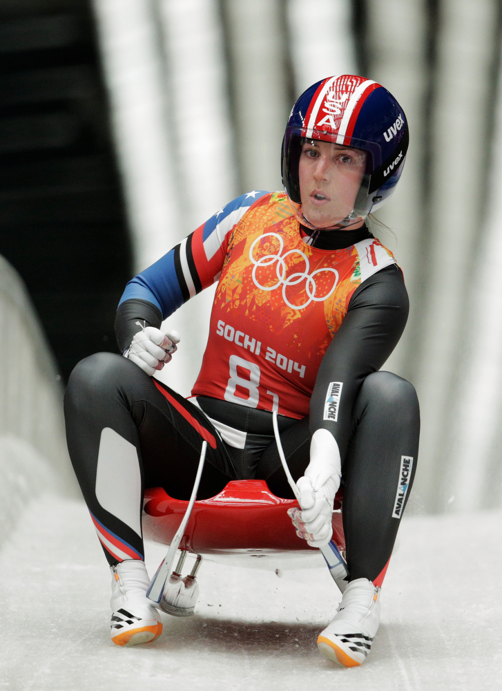 . Erin Hamlin of the United States finishes a run during the Luge Relay on Day 6 of the Sochi 2014 Winter Olympics at Sliding Center Sanki on February 13, 2014 in Sochi, Russia.  (Photo by Adam Pretty/Getty Images)