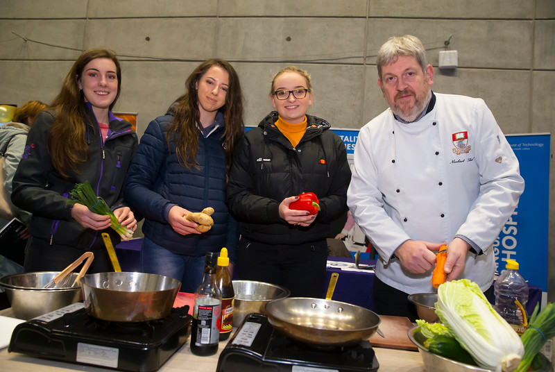 FREE TO USE IMAGE. Pictured at WIT's Autumn Open Days in the WIT Arena are Presentation Milltown school, Killarney with Chef Norbett Thul. Picture: Patrick Browne  WIT's Autumn Open Days in the WIT Arena were on Friday, 23 November and Saturday, 24 November 2018. The Schools Open Day on Friday attracted thousands of secondary school students.  The event focused on undergraduate entry for September 2019 but also showcases the opportunities for postgraduate learning and research and flexible study through our School of Lifelong Learning & Education.  The institute has 70 CAO courses across a range of discipines including,business,engineering and architecture, sports and nursing, law, social sciences, arts and psychology, the creative & performing arts, languages, tourism and hospitality, science and computing.   WIT's Autumn Open Days included presentations on all CAO courses, including new courses for 2019, as well as the opportunity to experience what it would be like to study on those courses and talk to lecturers directly.