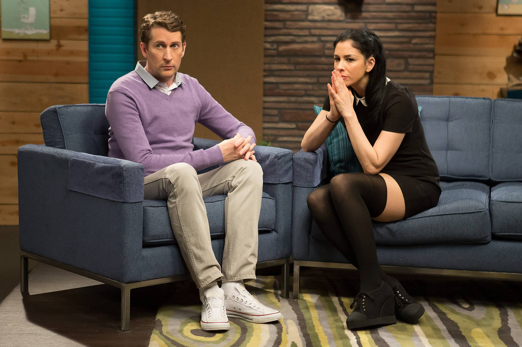 ". Scott Aukerman and Sarah Silvermanin in IFC\'s ""Comedy Bang! Bang!\""  (Photo by Chris Ragazzo/IFC)"