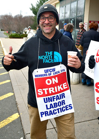 4/12/2019 Mike Orazzi | Staff Farmington Avenue Stop & Shop worker Ed Riccio while on strike Friday afternoon in Bristol.