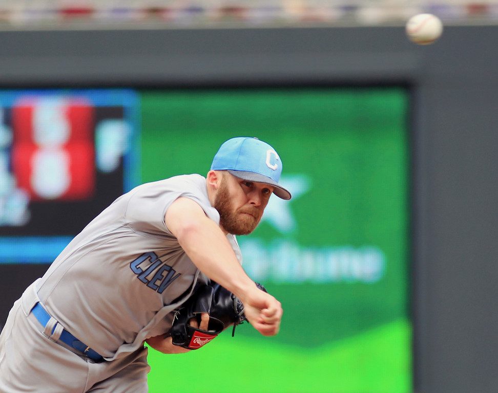 . Cleveland Indians pitcher Cody Allen throws to the Minnesota Twins in the eighth inning of a baseball game Sunday, June 18, 2017, in Minneapolis. (AP Photo/Andy Clayton-King)