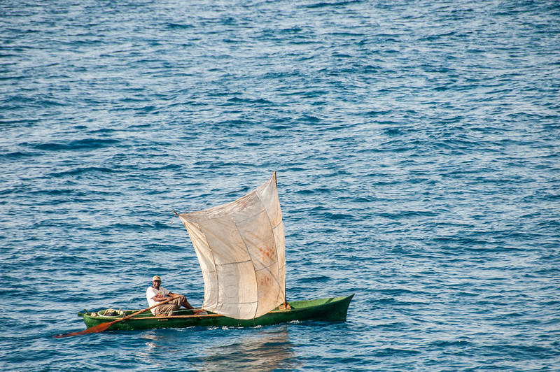 Man on a boat in Sao Tome, Sao Tome and Principe